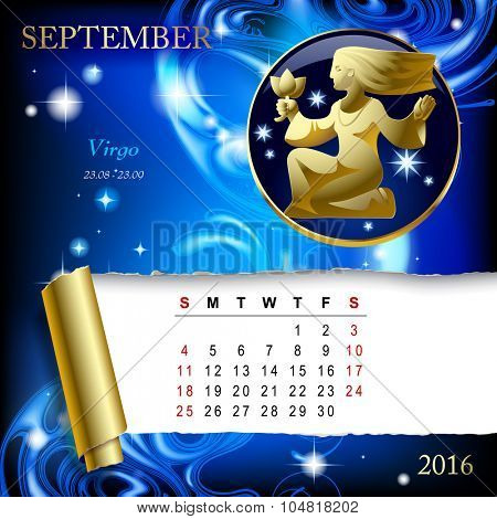Simple monthly page of 2016 Calendar with gold zodiacal sign against the blue star space background. Design of September month page with Virgo figure.