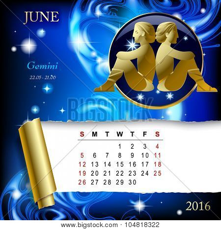 Simple monthly page of 2016 Calendar with gold zodiacal sign against the blue star space background. Design of June month page with Gemini figure.