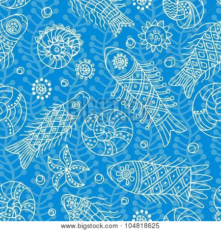 Decorative seamless background pattern with contour drawing of fishes. Textile and wallpaper sea background. Vector illustration