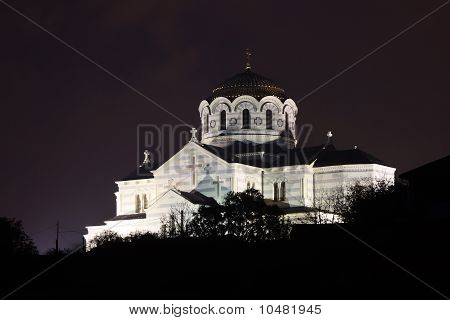 Night View Of Vladimirsky Cathedral In Chersonese