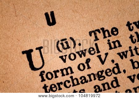 Close-up Of A U, The 21Th Letter Of The Latin Alphabet