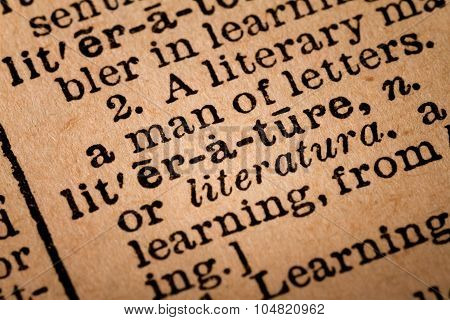 Close-up Of An Opened Dictionary Showing The Word Literature
