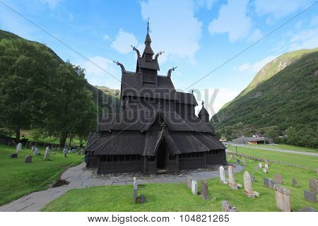 Borgund Stave Church. Built In 1180 To 1250, And Dedicated To The Apostle St. Andrew. It Is One Of T