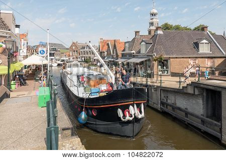 Boat By The Old Lock In Lemmer