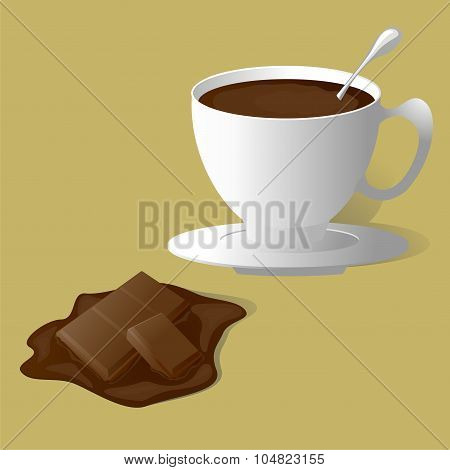 A Piece Of Chocolate And A Mug With Hot Chocolate