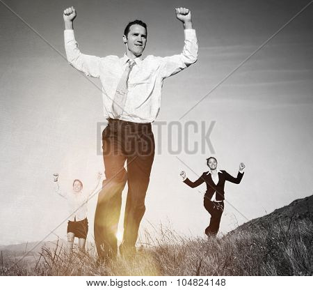 Business People on The Mountains Cheerful Running Concept