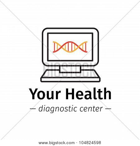 Vector trendy line style medical center logo. Diagnostic logotype. Computer with DNA on screen symbo