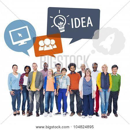 Diverse People and Idea Design Creative Teamwork Dynamic Brainstorm Concept