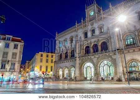 Lisbon Rossio Train Station At Night
