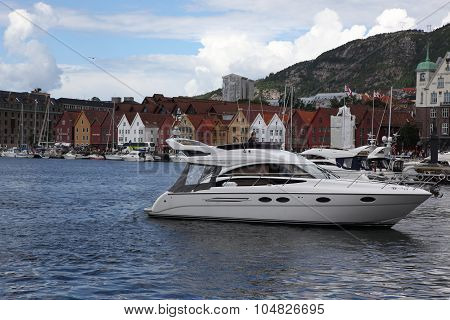 BERGEN NORWAY - CIRCA JULY 2012: At the UNESCO World Heritage Site Bryggen July 2012 in Bergen. Berg