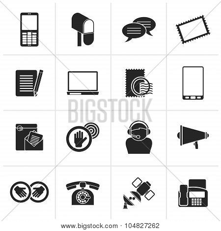 Black Contact and communication icons
