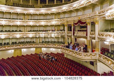 Semper Opera From Inside With Tourists