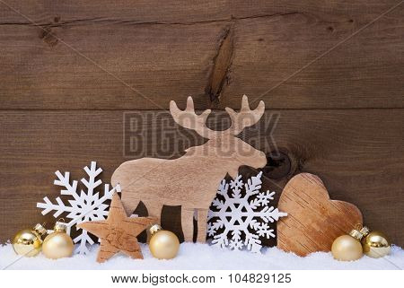Golden Christmas Decoration with Snow and Moose