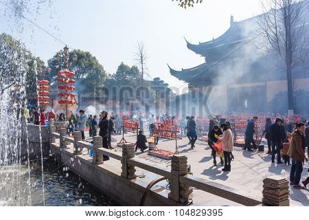 Jiangyin, China In 2015 February 19: People Burn Incense At The First Day Of The Chinese New Year To