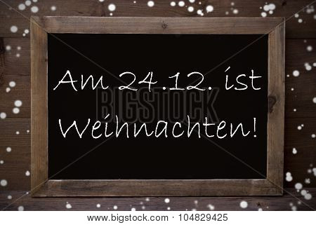 Chalkboard With Weihnachten Means Merry Christmas, Snowflakes