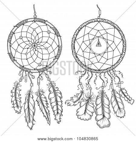 Dream catchers. Native american traditional symbol. Vintage vector hand drawn illustration.