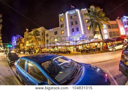 Ocean Drive Buildings In South Beach At Ocean Drive By Night