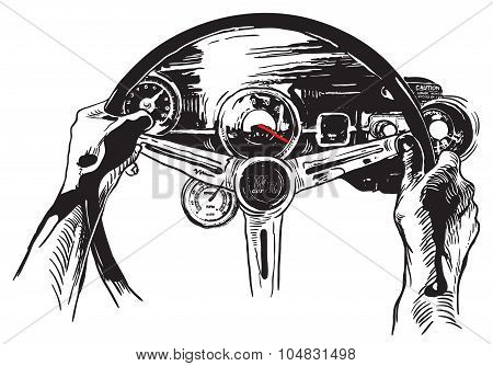 Vanishing Point, Freehand Sketching, Vector - Muscle Car Interior