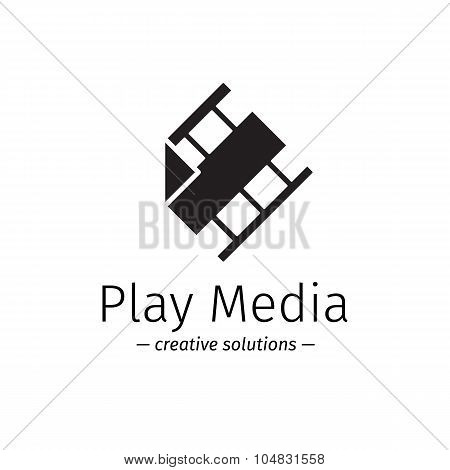 Vector film logo with play sign. Media business minimalistic logotype