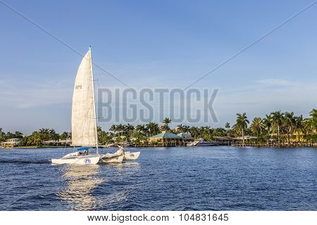 Fort Lauderdale, Usa - Aug 20, 2014: Sailing Boat In The Canal In Fort Lauderdale, Usa. There Are 16