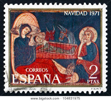 Postage Stamp Spain 1971 Nativity, Avia Altarpiece