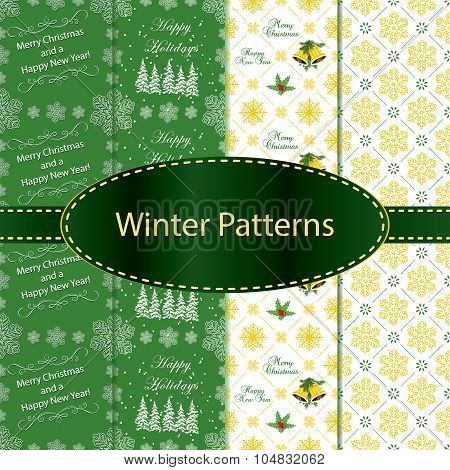 Seamless Pattern Set for winter holidays