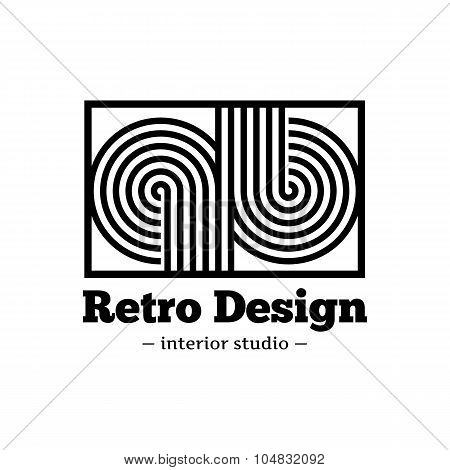 Vector modern black abstract logo. Q and B letters logotype with stripes in retro style