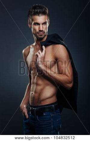 Handsome Man Shirtless Posing In The Studio