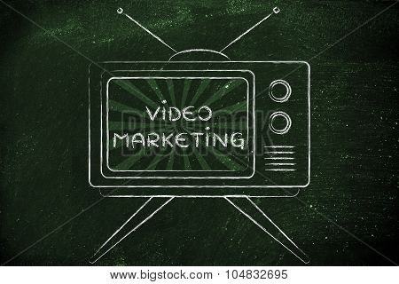 Video Marketing, Tv Screen With Emphatic Message