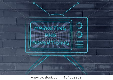 Marketing And Advertising, Tv Screen With Emphatic Message