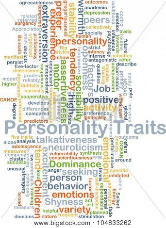 Background concept wordcloud illustration of personality traits