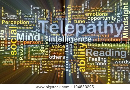 Background concept wordcloud illustration of telepathy glowing light