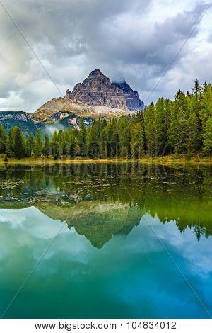 Lake Misurina with Tre Cime di Lavaredo in background, Auronzo di Cadore, Dolomites,Italy
