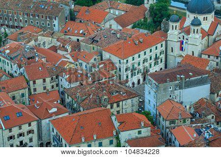 Bird Eye View Of Buildings In Kotor Old Town, Montenegro