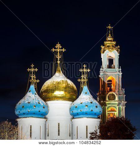 Panorama of the Assumption Cathedral and the bell tower of the Trinity Lavra of St. Sergius