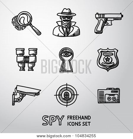 Set of Spy handdrawn icons - fingerprint, spy, gun, binocular, eye in keyhole, badge, surveillance c