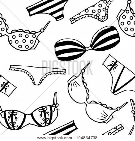 Lingerie seamless pattern. Vector underwear background design. Outline hand drawn illustration.