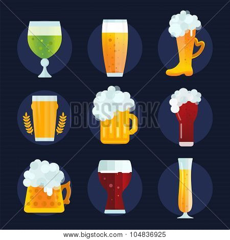 Beer bottle sign vector icons set