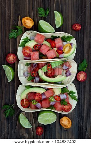Authentic mexican grilled fish tacos with watermelon Pico de Gallo
