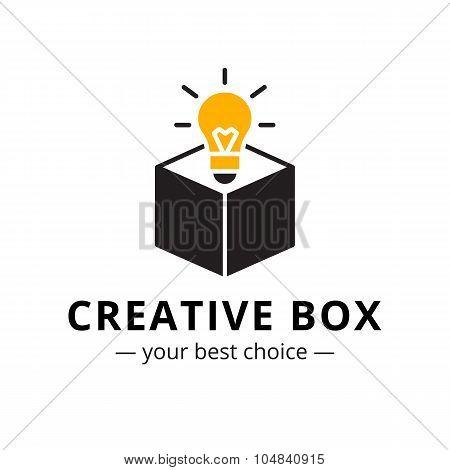 Vector minimalistic light bulb in a box logo