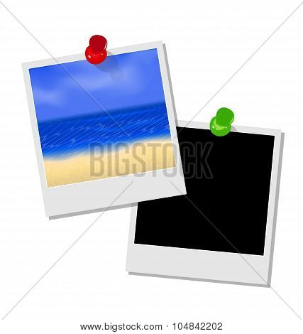 Photo frame with beach and empty photo frame