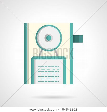 Door handle with hanging sign flat vector icon
