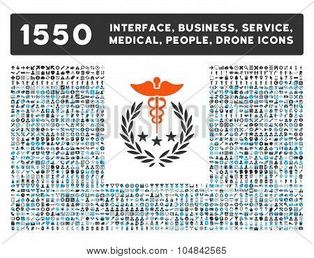 Caduceus Logo Icon and More Interface, Business, Medical, People, Awards Vector Symbols
