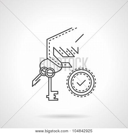 Buying home thin line vector icon