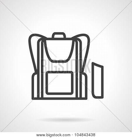 School bag simple line vector icon