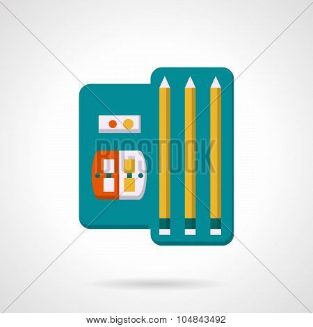 Pencils and sharpenet set flat vector icon