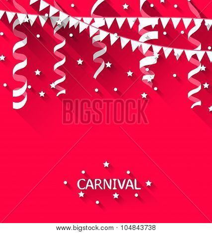 Holiday background with hanging pennants for carnival party in t