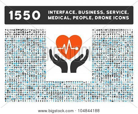 Cardiology Icon and More Interface, Business, Medical, People, Awards Vector Symbols