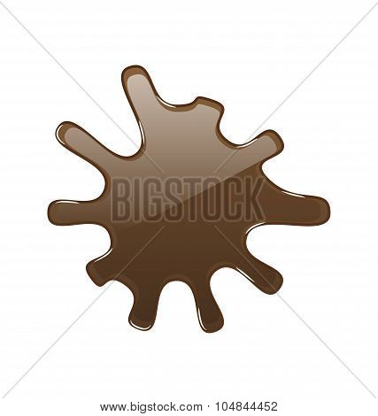 Hot chocolate blot, isolated on white background