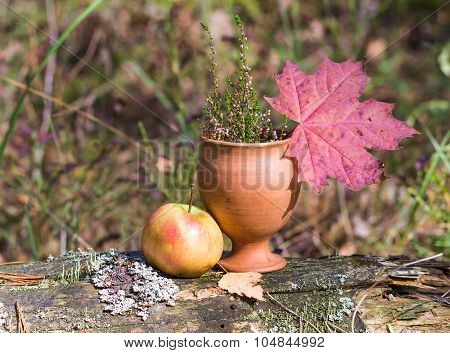 A Clay Cup With Heather, Apple And Red Leaves